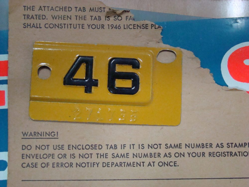 1946 California License Plate Tab, New Old Stock - Grumps-Garage